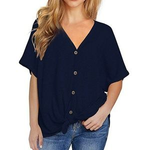 Women Loose Short Sleeve V Neck Tie Front Knot Tee